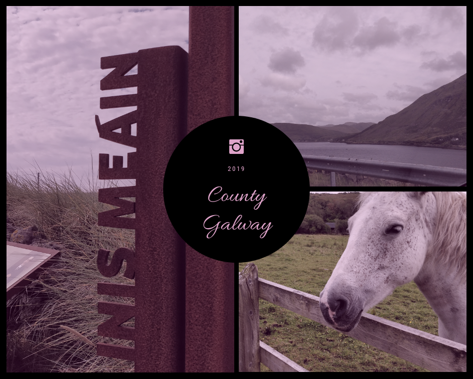 Inis Meain island sign, Killary Harbour fjord and a Connemara Pony