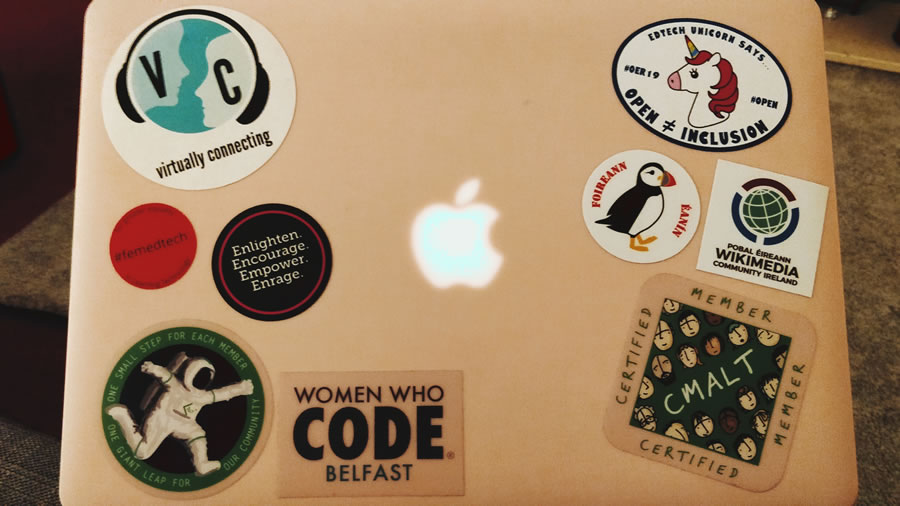 Stickers on laptop cover