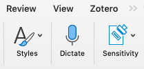 Dictate button on the home ribbon