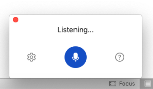 screenshot showing box with blue button with microphone image in it and a cog icon to the left and a question mark to the right