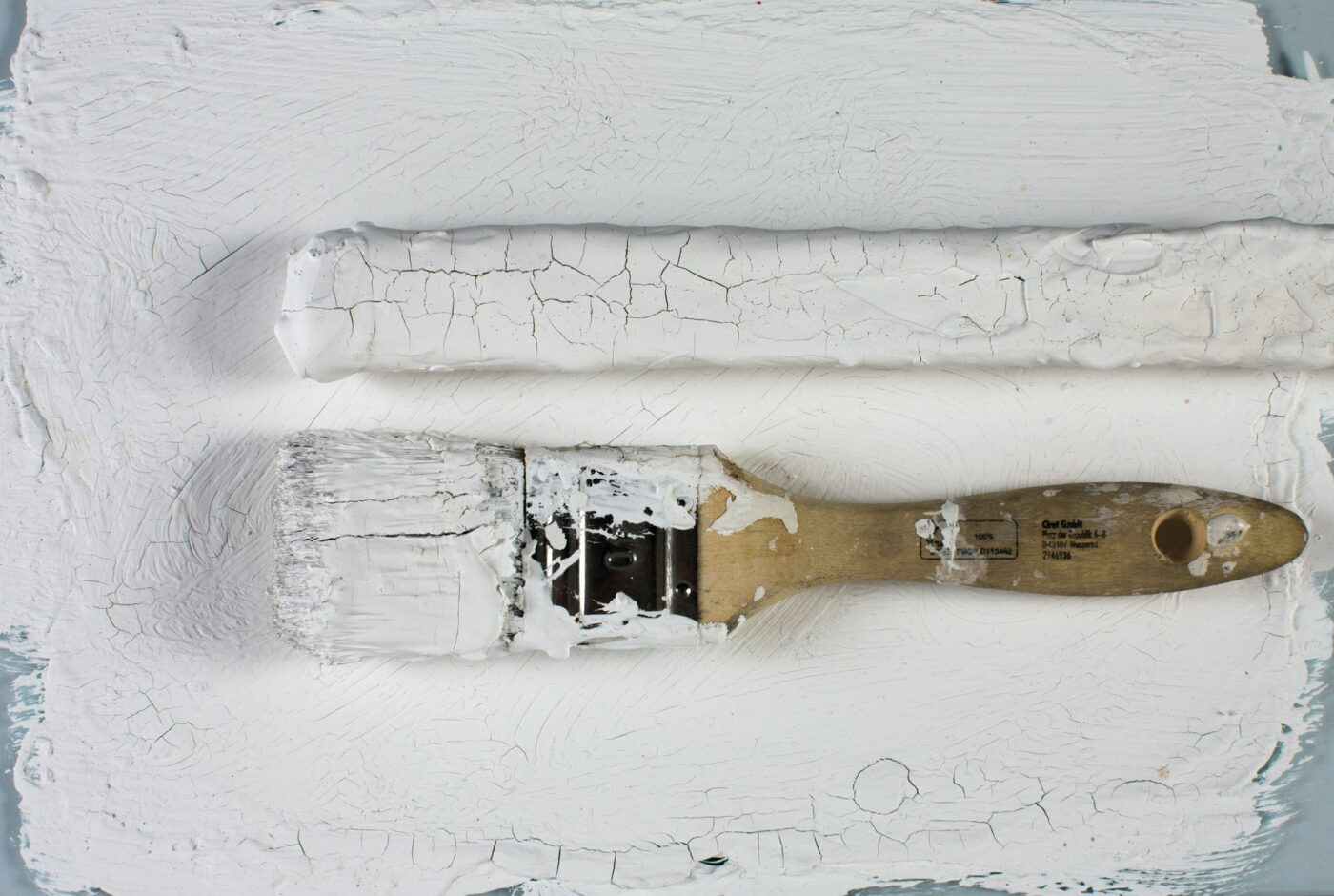 White paint brush on a table